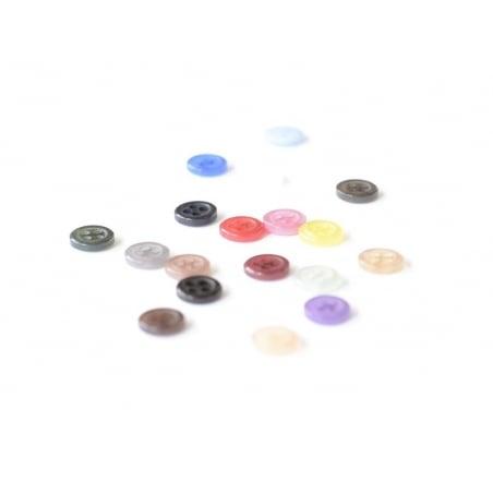 Plastic button (8 mm) with 4 buttonholes - Black