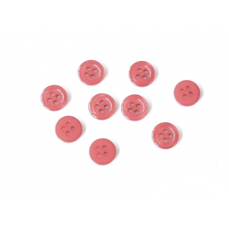 Plastic button (11 mm) with 4 buttonholes - Poppy red