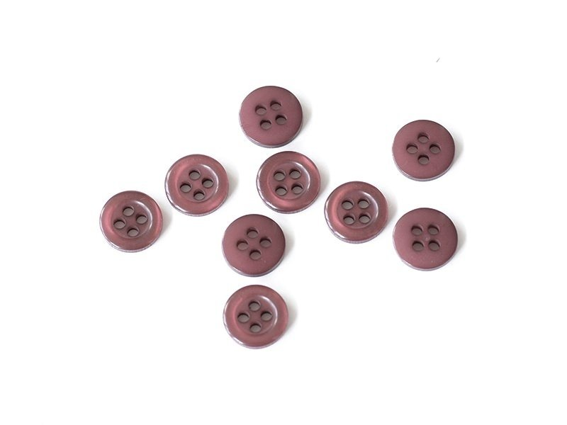 Plastic button (11 mm) with 4 buttonholes - Wine red