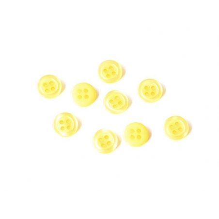 Bouton plastique 4 trous 11 mm - Jaune