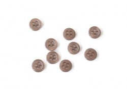 Plastic button (11 mm) with 4 buttonholes - Brown