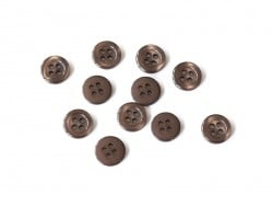 Plastic button (11 mm) with 4 buttonholes - Chocolate brown