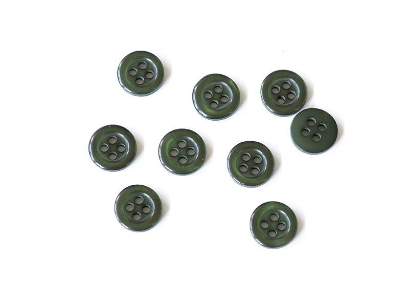 Bouton plastique 4 trous 11 mm - Vert sapin