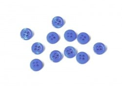 Plastic button (11 mm) with 4 buttonholes - Sapphire