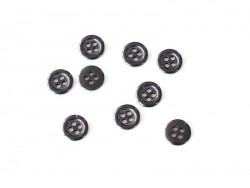 Plastic button (11 mm) with 4 buttonholes - Black