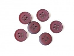 Plastic button (15 mm) with 4 buttonholes - Wine red