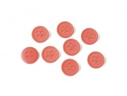 Bouton plastique 4 trous 15 mm - Rouge coquelicot