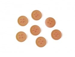Plastic button (15 mm) with 4 buttonholes - Dark orange