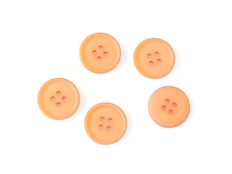 Plastic button (15 mm) with 4 buttonholes - Orange