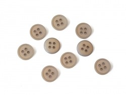 Plastic button (15 mm) with 4 buttonholes - Brown