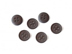 Bouton plastique 4 trous 15 mm - Marron chocolat