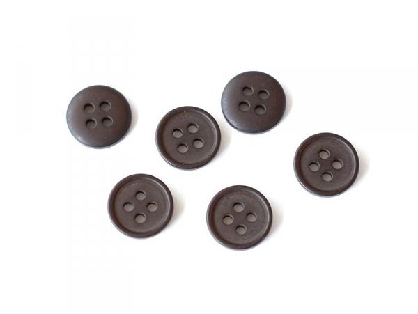 Bouton plastique 4 trous 15 mm - Marron chocolat