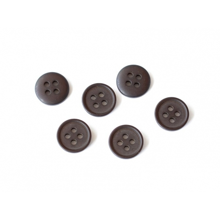Plastic button (15 mm) with 4 buttonholes - Chocolate brown