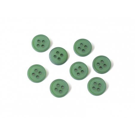 Plastic button (15 mm) with 4 buttonholes - Bottle green