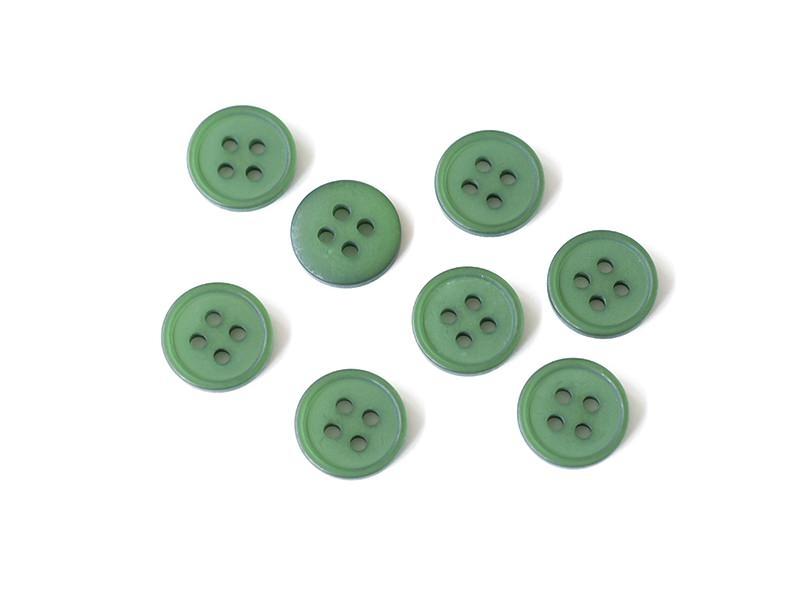 Bouton plastique 4 trous 15 mm - Vert bouteille