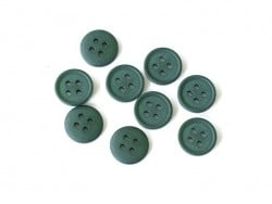 Plastic button (15 mm) with 4 buttonholes - Fir green