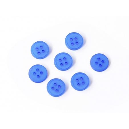 Bouton plastique 4 trous 15 mm - Bleu saphir