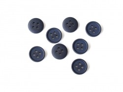 Plastic button (15 mm) with 4 buttonholes - Navy blue