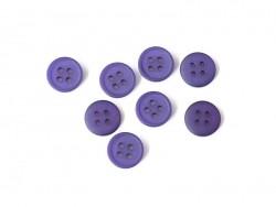 Bouton plastique 4 trous 15 mm - Violet aubergine