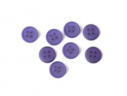 Plastic button (15 mm) with 4 buttonholes - Eggplant violet