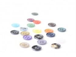 Plastic button (15 mm) with 4 buttonholes - Black