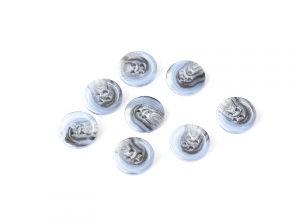 Plastic button (15 mm) with 4 buttonholes - Black and blue marbled