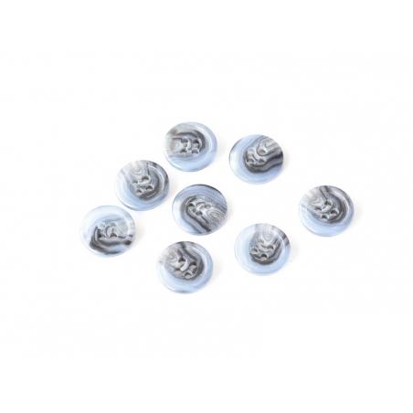 Bouton plastique 4 trous 15 mm - Marbré noir et bleu Mediac - 1