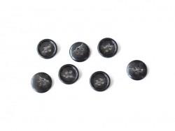 Bouton plastique 4 trous 15 mm - Marbré noir et blanc