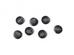 Plastic button (15 mm) with 4 buttonholes - Black and white marble
