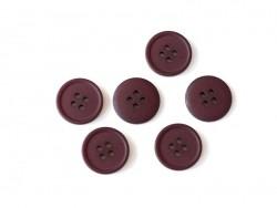 Bouton plastique 4 trous 20 mm - Bordeaux