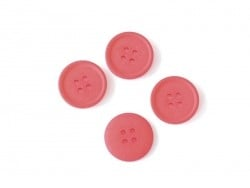 Plastic button (20 mm) with 4 buttonholes - Poppy red