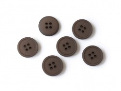 Plastic button (20 mm) with 4 buttonholes - Chocolate brown