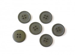 Plastic button (20 mm) with 4 buttonholes - Olive green