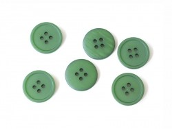 Plastic button (20 mm) with 4 buttonholes - Bottle green