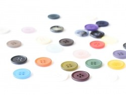Plastic button (20 mm) with 4 buttonholes - Brown and beige marbled