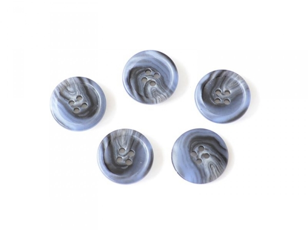 Plastic button -20 mm) with 4 butthonholes - Black and blue marbled