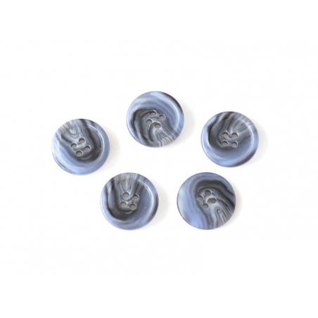 Bouton plastique 4 trous 20 mm - Marbré noir et bleu