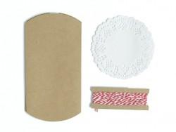 4 Geschenktüten mit einer Zierdecke und einer Schnur - Kraftpapier