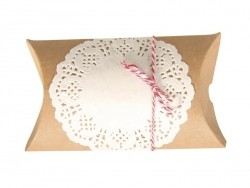 4 Pochettes Cadeau avec naperon et ficelle - kraft