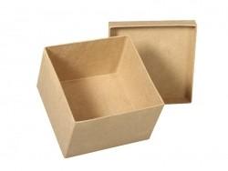 boite carrée à customiser en papier mâché - 12.5 cm