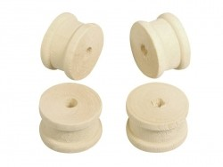 12 light-coloured wooden bobbins - with a 2.5 cm diameter