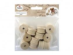 12 bobines en bois claire - diamètre 2,5 cm