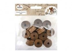 12 dark-coloured wooden bobbins - with a 2.5 cm diameter
