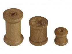 Assortment of 24 dark-coloured wooden bobbins