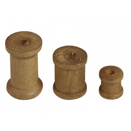 Assortiment de 24 bobines en bois foncé
