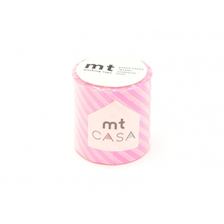 Masking tape Casa - rayé Rose Fluo