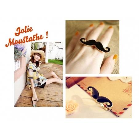 A cute black moustache double ring
