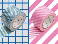 set 2 Masking tape motifs - carreaux bleus / rayures roses