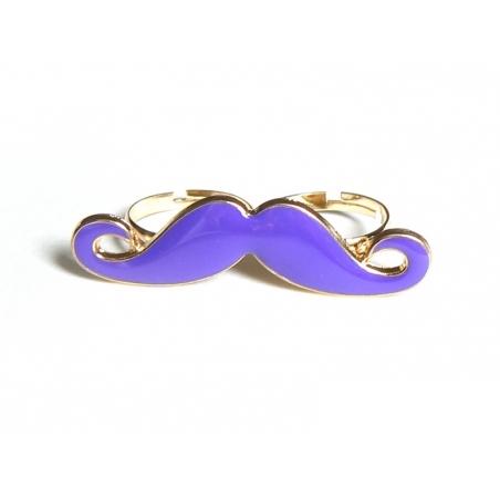 Une double bague moustache violette  - 1