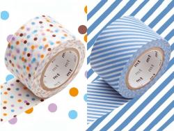 set 2 Masking tape motifs - pois lavande et rayures bleues